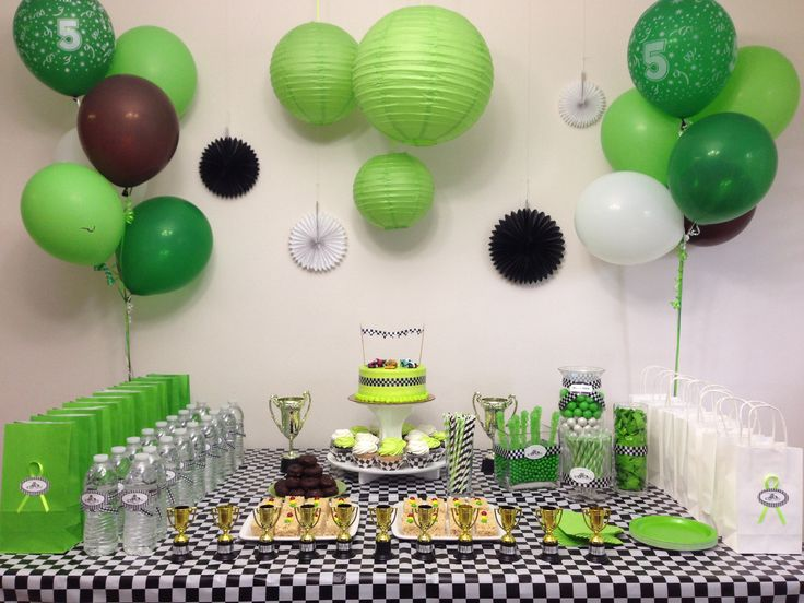 Go cart race theme. Green, black, and white. Boy's party