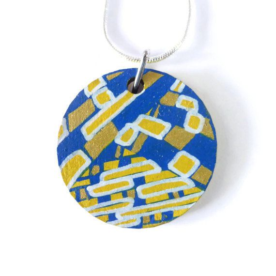 Hand Painted Round Pendant Necklace, Original Painting, Abstract Art, Wearable Art, Picture Art, Painting on Wood, For Her, Art Lover's Gift