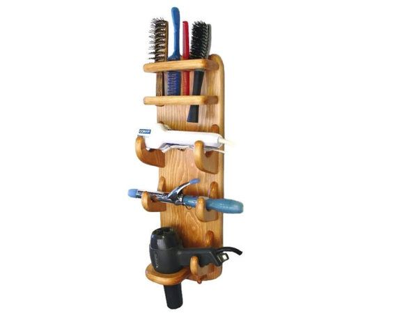 Item #708 Bathroom Organizer - Flat Iron, Curling Iron, Hair Dryer Holder, Brush, Comb Holders Handcrafted From Twin Mountain Collections. Two