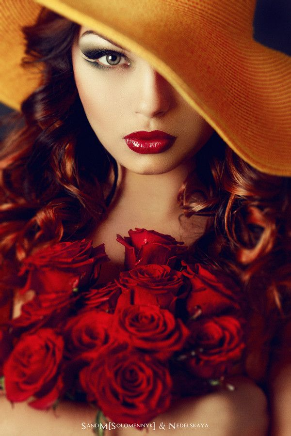 Flowers... by Alex Solomennyk  on 500px This Is So Gorgeous With The Red Roses & Red Lipstick..