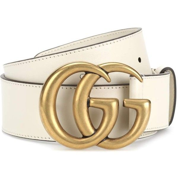 Gucci Embellished Leather Belt (1,655 AED) ❤ liked on Polyvore featuring accessories, belts, white, white leather belt, embellished belt, gucci belt, white belt and gucci