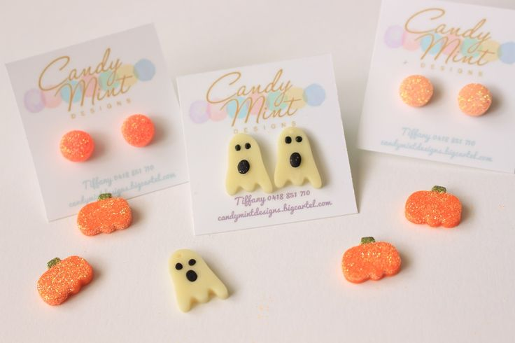GLOW IN THE DARK Spooky Ghost or Glitter Pumpkin Studs on hypoallergenic surgical steel posts and backs. Perfect for sensitive ears. Please don'...