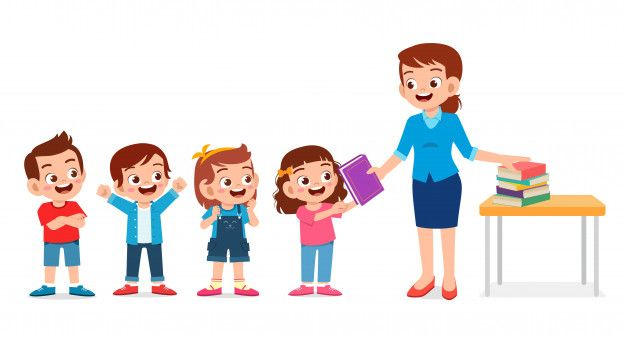 Happy Cute Teacher Giving Book To Studen Premium Vector Freepik Vector People Kids Clipart Cute Animated Images