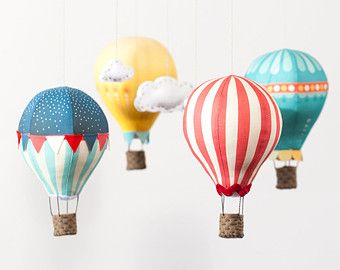 Hot Air Balloons - Fabric Panel in Circus