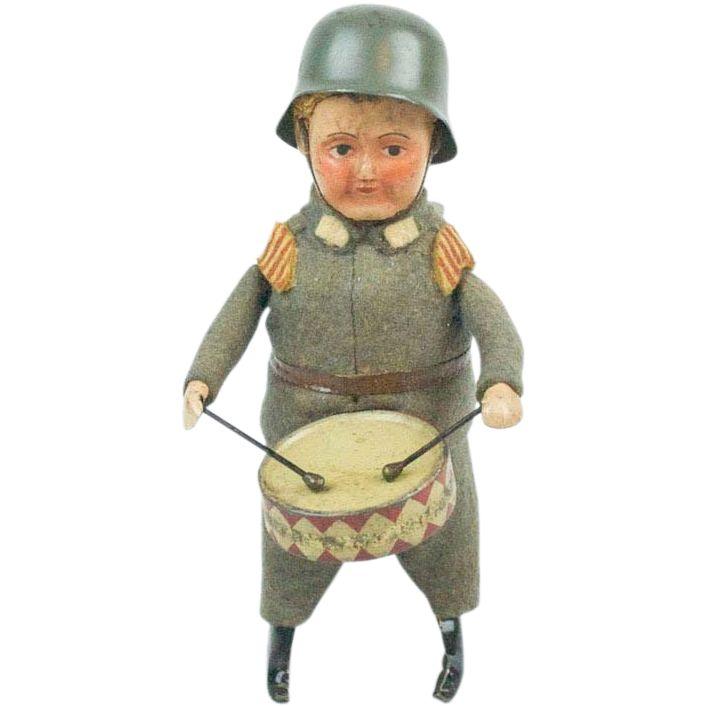 Soldier Toys For Boys : S schuco tin felt wind up wwii german drummer boy