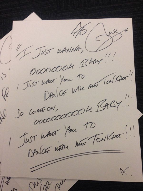 "Olly Murs' Handwritten Lyrics to ""Dance With Me Tonight"""