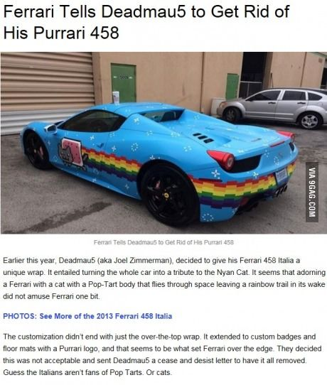 So, this happened. Ferrari is a bunch of A-holes. It was his car, and he should be able to do as he pleases with it.