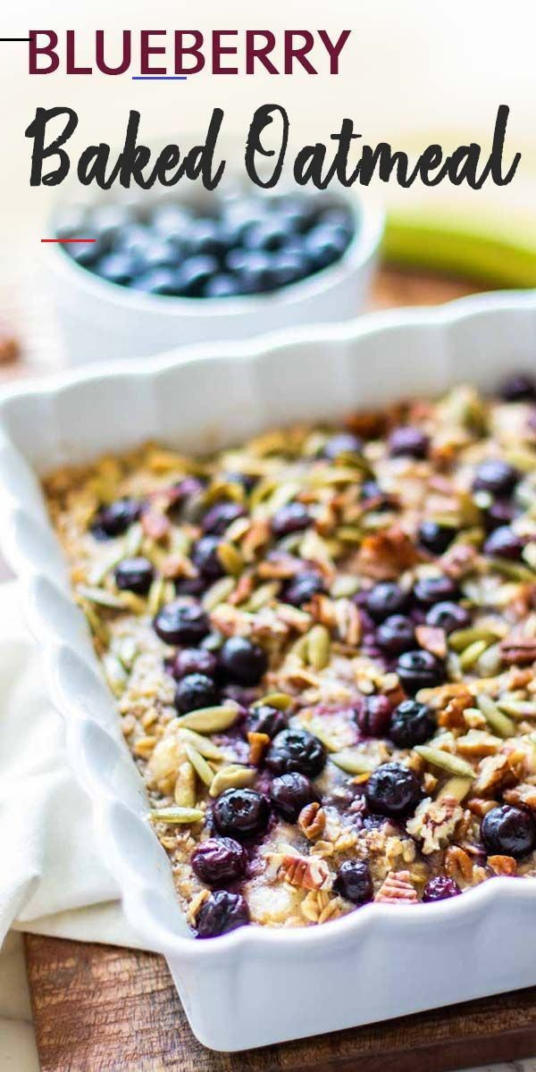 Healthy Baked Oatmeal With Blueberries And Bananas Sunkissed Kitchen Breakfastcasserolemakeahead Oatmeal Rezept Gesund Backen Hafer