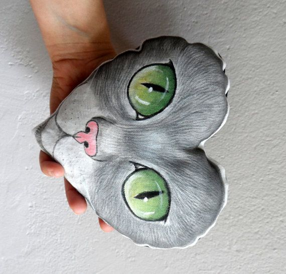 Cat  Plush PillowHeart shaped decorative pillow by ShebboDesign