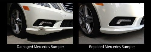 Auto Cosmetic Solutions repaired this 2011 Mercedes E350 bumper after it was hit by a blown semi-truck tire on the freeway.