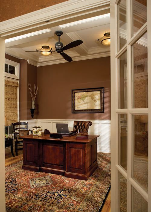 this is that wainscot you like Nancy, but it ties in with the current trim of the room. The den has wood trim currently. I'm not sure how it would feel with the different tones.