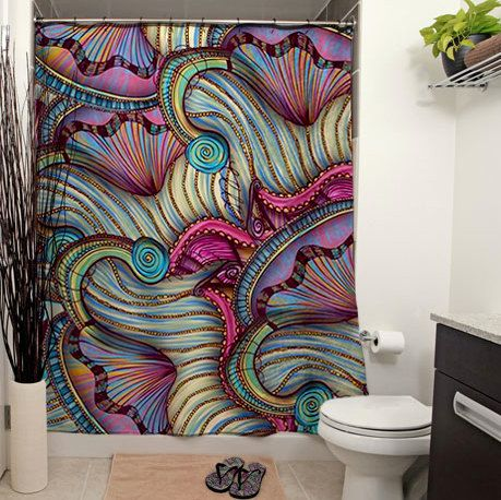 Gates of the Nereids Printed Shower Curtain, Bathroom Decor, Mythology, Purple, Pink, Home Decor, Seashells, Art Deco, Abstract Art
