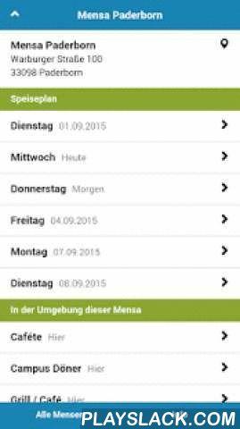 Mensa Paderborn  Android App - playslack.com , Dein Mensaplan für Paderborn, Hamm und Lippstadt.Die Mensa App liefert Dir die Speisepläne für den Campus folgender Hochschulen und Universitäten:HOCHSCHULE HAMM-LIPPSTADT* Mensa Atrium Lippstadt* Mensa Basilica HammUNIVERSITÄT PADERBORN* Bistro Hotspot* Caféte* Campus Döner* Grill / Café* Mensa Forum* Mensa Paderborn* Mensula* One Way SnackDie App bietet diese Funktionen:IMMER AKTUELLWir überwachen die Speisepläne der Mensen in Paderborn, Hamm…