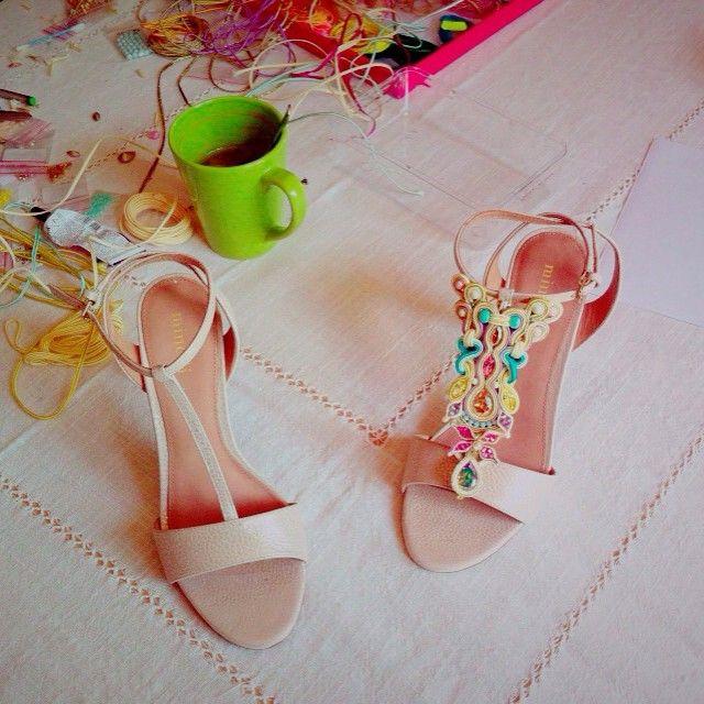 #soutache #shoes #highheels #chaussures #diy #handmade #embroidery #julieromeroparis #juliecrea #workinprogress