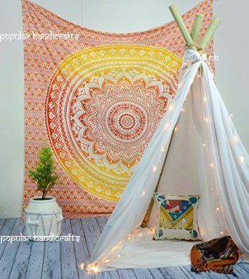 Mandala wall decor is a great waymake your home feel more relaxing. In addition, to being relaxing mandala wall decor isbeautiful,uniqueandincredibly popularright now. You will see it everywhere from bedrooms, living rooms offices, and yoga / exercise rooms. Popular Handicrafts Fire Ombre Hippie Mandala Bohemian Psychedelic tapestry wall