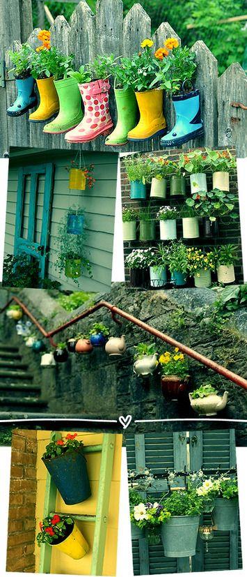 Jardim vertical feito com objetos reciclados.