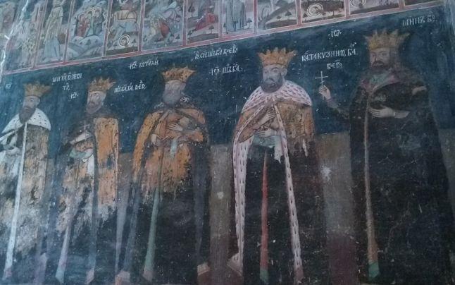 Biserica Domneasca/Princely Church (Targoviste) - from left to right: Mihai Viteazul (1593 - 1601), Radu Şerban (1602 - 1610, 1611), Constantin Şerban (Constantin Cârnu; 1654 - 1658), Şerban Cantacuzino (1678 - 1688), Radu Mihnea (Wallachia September 1601 -  March 1602, March - May 1611, September 1611 -  August 1616, August 1620 - August 1623; Moldavia 1616–1619, 1623–1626 - wiki).