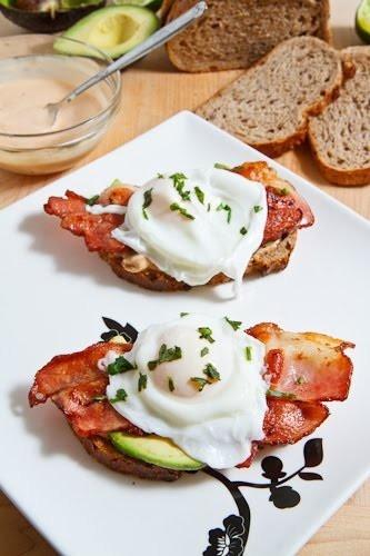 poached egg & bacon