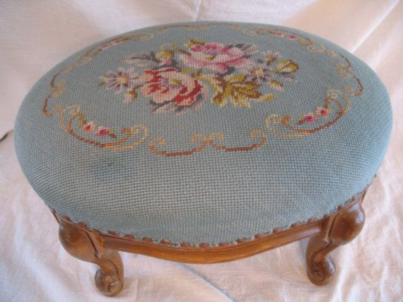 Oval French Footstool with Light Turquoise Floral Needlepoint on Etsy, $125.00