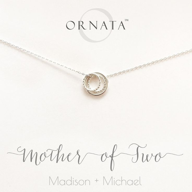 """""""Mother of Two"""" Personalized Sterling Silver Necklace 