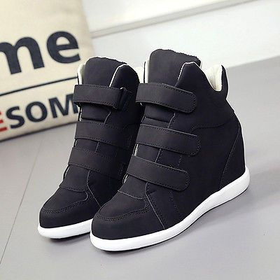 2017 New Womens Buckle Hidden Wedge Heels High Top Ankle Boots Sneakers Shoes