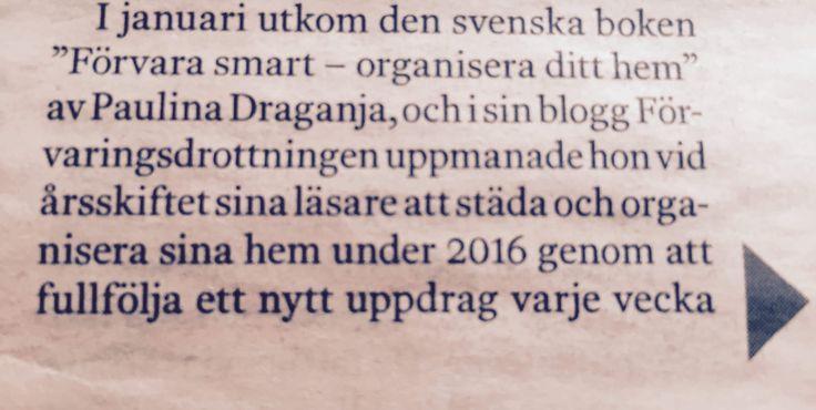 """Boken """"Förvara smart - organisera ditt hem"""" och Veckans uppdrag omnämnd i Dagens Industri 19 mars 2016"""
