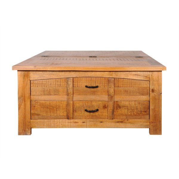 This Adriana Mango Wood Coffee Table is inspired by the craftsman style period. The top of the unit features a hinged half-top for storage; the hinge is equipped with a safety feature. The two pull-out drawers in the front offer additional storage. The rustic light coffee finish will add warmth to any space. Every piece of furniture is handcrafted by skilled artisans which make no two items exactly alike. The different types of wood, materials, hardware and finishes used to create these…