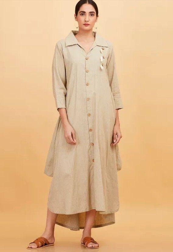 Beautiful Mulmul Kurta With Button Down Shirt Collar And Superb Detailing High Low Shirt Dress Shirt Dress Collar Kurti Design