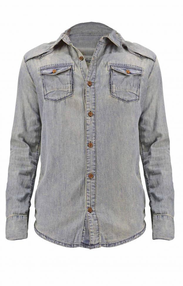 Ανδρικό πουκάμισο τζιν wash POUK-1620 | Άνδρας Πουκάμισα | Metal Denim