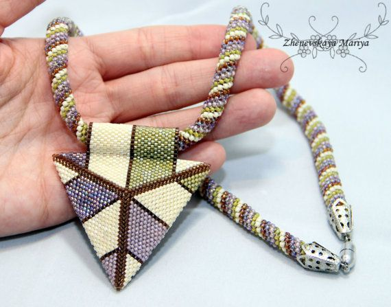 Two side Beadwork Peyote Triangle Pendant by ManyashkazJewerly