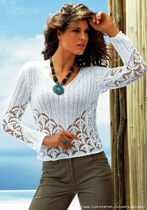 White Openwork Top free knitting graph pattern
