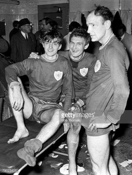Allan Clarke, John Sjoberg, Andy Locchead after the 1-0 win v West Bromwich Albion F.A cup semi final 1969