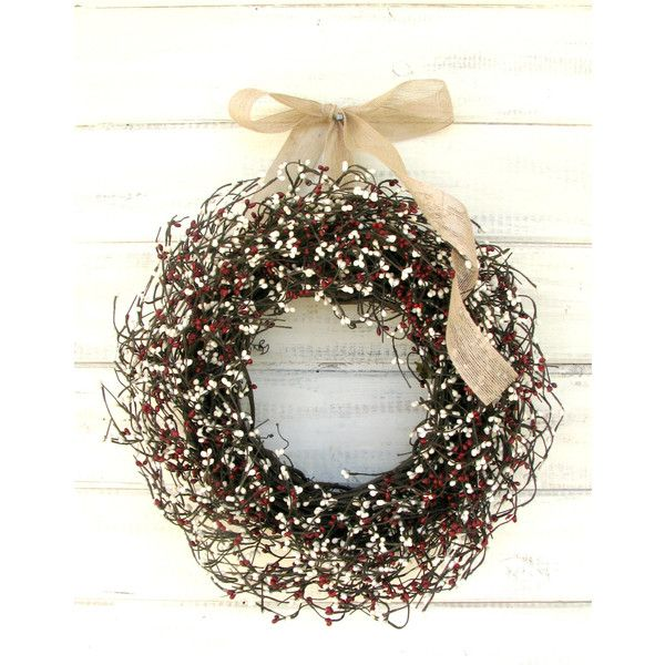 Primitive Door Wreath-Winter Door Wreath-Rustic Cream & Country Red... (£44) ❤ liked on Polyvore featuring home, home decor, home fragrance, home & living, home décor, ornaments & accents, red, outdoor door wreaths, burlap door wreaths and eucalyptus wreath