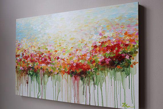ORIGINELE bloem schilderij abstracte bloemen schilderij