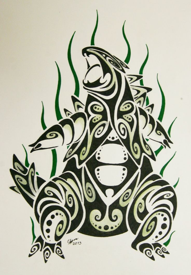 Tribal tyranitar pokemon tattoo idea