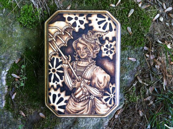 """""""Victoria"""" pyrography on pine, 2016.  https://www.etsy.com/listing/494956337/victoria-steampunk-plaque-original-one"""