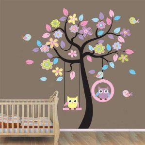 XLarge colorful tree and owls wall sticker nursery bedroom art decoration children holiday party decorative mural removable owl tree baby kid's room art wallpaper decal: Amazon.co.uk: Baby