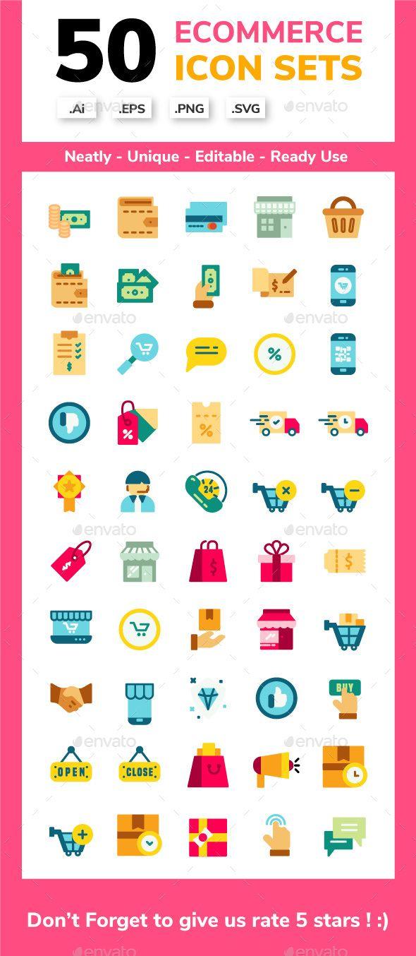 Ecommerce Flat Icon Set Flat Icons Set Icon Set Flat Icon