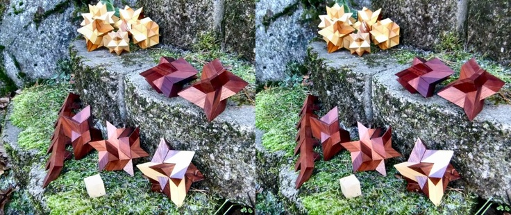 HexaInverto is a descendant of a timeless Diagonal Star. The Star has a big family (light group in the back).       The HexaInverto is a different animal though. Unlike its siblings it's asymmetrical, it allows the puzzle to have three solutions.