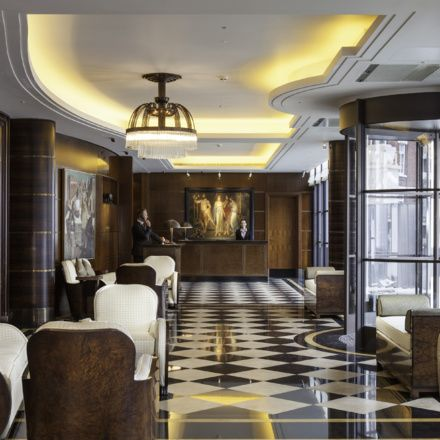 Art Deco excellence in the lobby at The Beaumont in Mayfair, London, England.