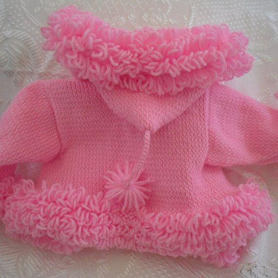 Pink Baby Sweater loopy trim pink hoodie by AnnabellesWardrobe, £19.00