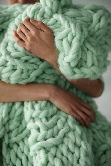 mint pastel chunky knit.