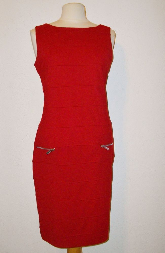 Adrienne Vittadini Sexy Red Knit Bandage Dress Size 12 Body Con Sleeveless #AdrienneVittadini #Sheath #CocktailClubwear