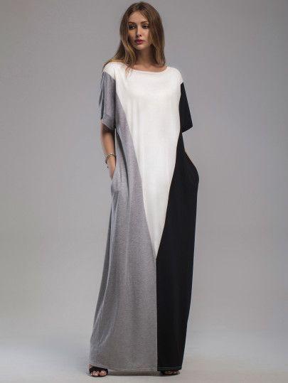 Контрастное модное платье с карманами