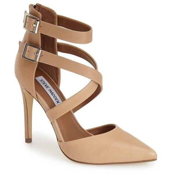 """Steve Madden 'Klassssy' Pointy Toe Pump, 4"""" heel ($72) ❤ liked on Polyvore featuring shoes, pumps, heels, chaussures, sapatos, tan leather, steve-madden shoes, pointed-toe pumps, pointy toe high heel pumps and pointed toe high heel pumps"""
