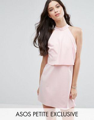 ASOS PETITE Mini Dress with Crop Top Layer and High Neck