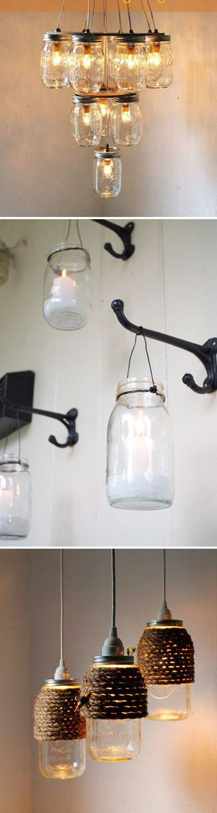 Great Jar Light Idea | DIY & Crafts Tutorials. I like the bottom one with the rope over the top.