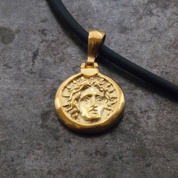 Gold Ancient Greek Coin Necklace God Apollo Small by GreekMythos