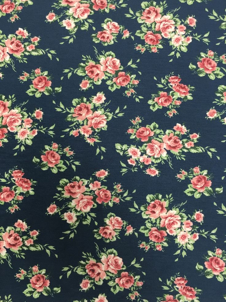 Image of Navy Floral Rayon Spandex