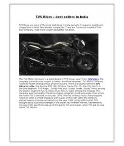 TVS Bikes – best sellers in India